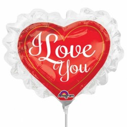 LOVE YOU RUFFLE MINI SHAPE A30 INFLATED WITH CUP & STICK