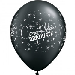 "CONGRATULATIONS GRADUATE 11"" ONYX BLACK (6X6CT)"