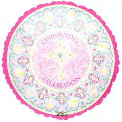 "STAINED GLASS PINK CHRISTENING 18"" SALE"