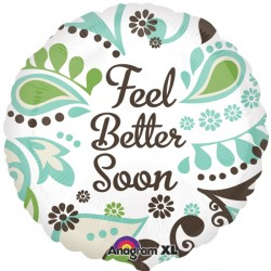 "FEEL BETTER SOON TEAL & BROWN 18"" SALE"