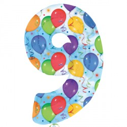 BALLOONS & STREAMERS NUMBER 9 SHAPE SALE
