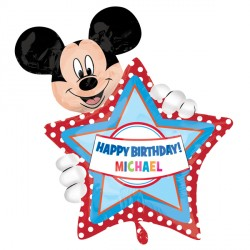 MICKEY MOUSE BIRTHDAY PERSONALISED SHAPE P40 PKT
