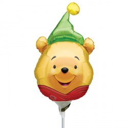 WINNIE THE POOH PARTY HAT MINI SHAPE A30 INFLATED WITH CUP & STICK