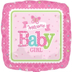 WELCOME BABY GIRL BUTTERFLY STANDARD S40 PKT