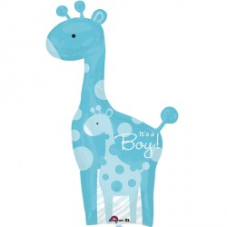 DAD & BABY BLUE GIRAFFE SHAPE P35 PKT