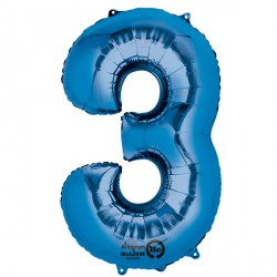 BLUE NUMBER 3 SHAPE P50 PKT