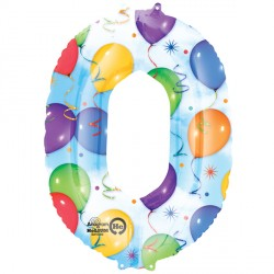 BALLOONS & STREAMERS NUMBER 0 SHAPE P50 PKT