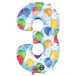 BALLOONS & STREAMERS NUMBER 3 SHAPE P50 PKT