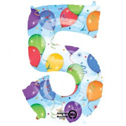 BALLOONS & STREAMERS 5 NUMBER SHAPE P50 PKT