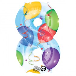 BALLOONS & STREAMERS 8 NUMBER SHAPE P50 PKT