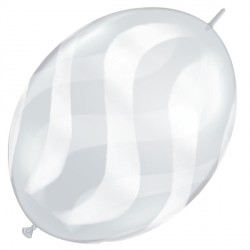 """WAVY STRIPES WHITE QUICK LINK 12"""" DIAMOND CLEAR (50CT)"""