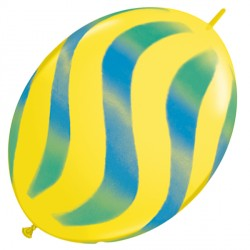 """WAVY STRIPES GREEN & BLUE QUICK LINK 12"""" YELLOW (50CT)"""