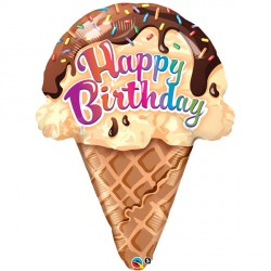 "BIRTHDAY ICE CREAM CONE 27"" SHAPE GROUP A PKT"