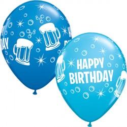 "BEER MUGS BIRTHDAY 11"" DARK BLUE & ROBIN'S EGG BLUE (25CT)"