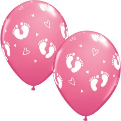 "BABY FOOTPRINTS & HEARTS 11"" ROSE (25CT)"