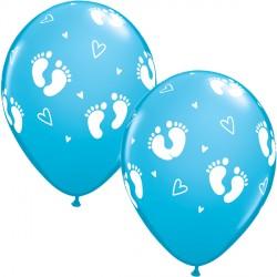 "BABY FOOTPRINTS & HEARTS 11"" ROBIN'S EGG BLUE (25CT)"