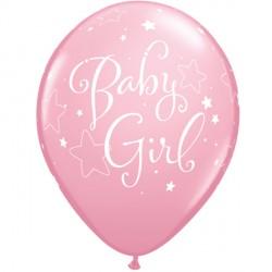 """BABY GIRL STARS 11"""" PINK (6X6CT)"""