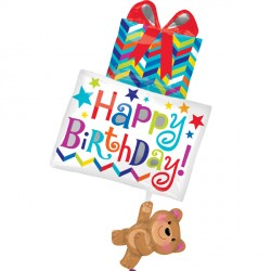 BEAR HOLDING GIFTS BIRTHDAY SHAPE P35 PKT