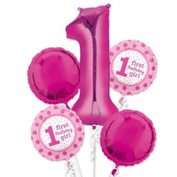 1ST BIRTHDAY GIRL 5 BALLOON BOUQUET P75 PKT (3CT)