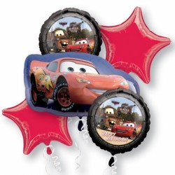 DISNEY CARS LIGHTNING MCQUEEN BIRTHDAY 5 BALLOON BOUQUET P75 PKT (3CT)