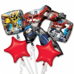 TRANSFORMERS BIRTHDAY 5 BALLOON BOUQUET P75 PKT (3CT)