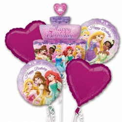 DISNEY PRINCESS BIRTHDAY 5 BALLOON BOUQUET P75 PKT (3CT)