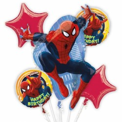 ULTIMATE SPIDERMAN BIRTHDAY 5 BALLOON BOUQUET P75 PKT (3CT)
