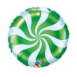 """CANDY SWIRL GREEN 9"""" INFLATED WITH STICK & CUP"""