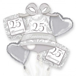 SILVER SCROLL 25TH ANNIVERSARY 5 BALLOON BOUQUET P75 PKT (3CT)