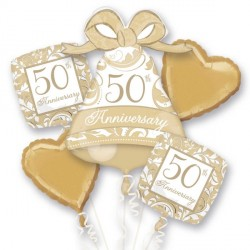 GOLD SCROLL 50TH ANNIVERSARY 5 BALLOON BOUQUET P75 PKT (3CT)