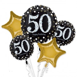 BLACK & GOLD 50 SPARKLING BIRTHDAY 5 BALLOON BOUQUET P75 PKT (3CT)