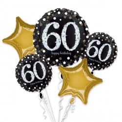 BLACK & GOLD 60 SPARKLING BIRTHDAY 5 BALLOON BOUQUET P75 PKT (3CT)