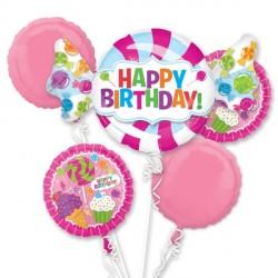 SWEET SHOP BIRTHDAY 5 BALLOON BOUQUET P75 PKT (3CT)