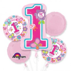 SWEET 1ST BIRTHDAY GIRL 5 BALLOON BOUQUET P75 PKT (3CT)