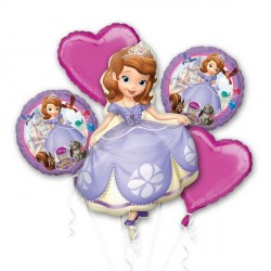 SOFIA THE FIRST 5 BALLOON BOUQUET P75 PKT (3CT)