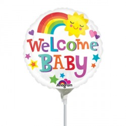"WELCOME BABY RAINBOW 9"" A15 FLAT"