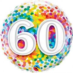 "60 RAINBOW CONFETTI 18"" PKT"