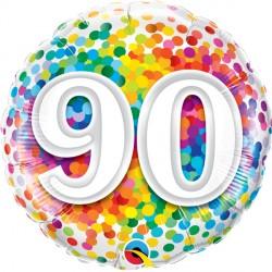 "90 RAINBOW CONFETTI 18"" PKT"