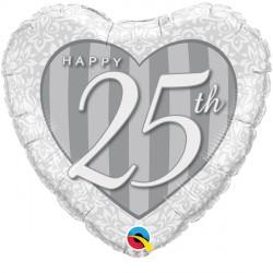 "HAPPY 25TH DAMASK HEART 18"" PKT"
