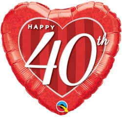 "HAPPY 40TH DAMASK HEART 18"" PKT"