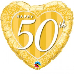 "HAPPY 50TH DAMASK HEART 18"" PKT"