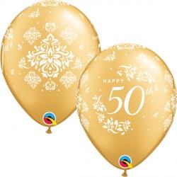 "50TH ANNIVERSARY DAMASK 11"" GOLD (25CT)"
