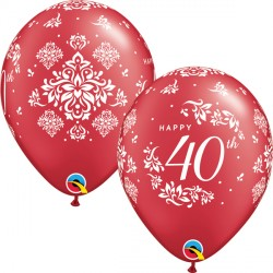 """40TH ANNIVERSARY DAMASK 11"""" PEARL RUBY RED (25CT)"""