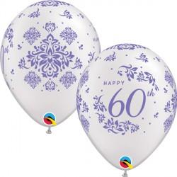 "60TH ANNIVERSARY DAMASK 11"" PEARL WHITE (25CT)"