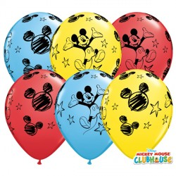 """MICKEY MOUSE 11"""" RED, YELLOW & PALE BLUE (25CT)"""