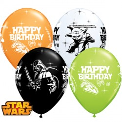 "STAR WARS BIRTHDAY 11"" ORANGE, WHITE, ONYX BLACK & LIME GREEN (25CT)"