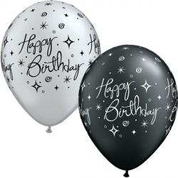 "ELEGANT SPARKLES & SWIRLS BIRTHDAY 11"" PEARL ONYX & SILVER (25CT)"