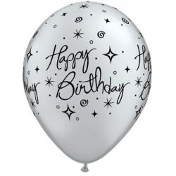 "ELEGANT SPARKLES & SWIRLS BIRTHDAY 11"" SILVER W/BLACK INK (25CT)"