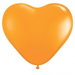 "ORANGE HEART 6"" STANDARD (100CT)"