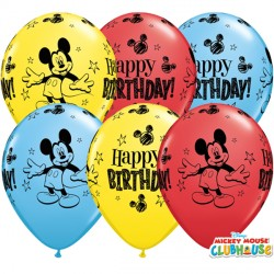 """MICKEY MOUSE BIRTHDAY 11"""" RED, YELLOW & PALE BLUE (25CT)"""